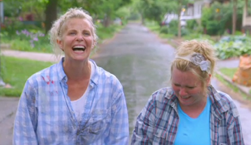 Monica Potter and sister Jessica in a typical state of laughter.
